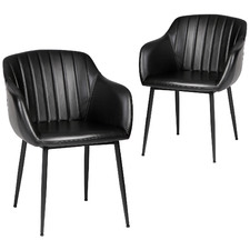Black Amber Faux Leather Dining Chairs (Set of 2)