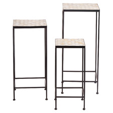 3 Piece Moroccan Mosaic Plant Stand Set