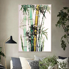 Oriental Bamboo Framed Canvas Wall Art