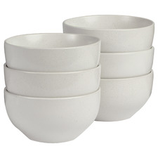 White Mari 14cm Ceramic Rice Bowls (Set of 6)