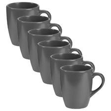 Charcoal Mari 400ml Ceramic Mugs (Set of 6)