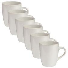White Mari 400ml Ceramic Mugs (Set of 6)