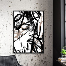 Monochrome Squiggle Framed Canvas Wall Art