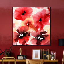 Ciaran Red Flower Framed Canvas Wall Art