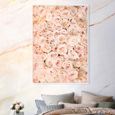 Serene Pink Roses Framed Canvas Wall Art