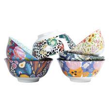 6 Piece Floral Ceramic Bowl Set