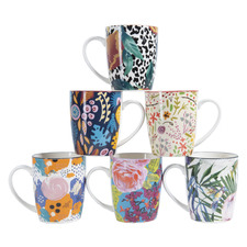 6 Piece Floral Ceramic Mug Set