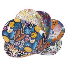 6 Piece Floral Ceramic Plate Set