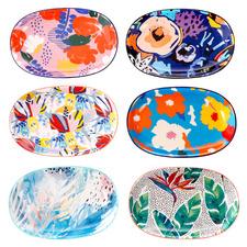 6 Piece Garden Lifestyle Ceramic Dinner Plate Set