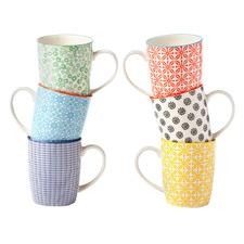 6 Piece Viola 300ml Ceramic Mug Set