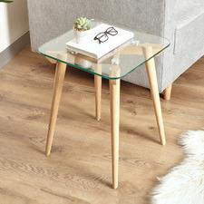 Matilda Oak Wood & Glass Side Table