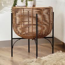 Matilda PE Rattan & Acacia Wood Side Table