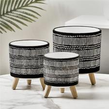 3 Piece White Stripe Terracotta Pot Set