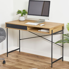 Natural Avaa Study Desk with Sliding Door Drawers