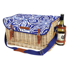 4 Person Ocean Tie Dye Deluxe Picnic Basket Set