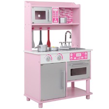 Kids' Wooden Kitchen Counter & Microwave Play Set