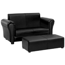 Black Liam 2 Seater Faux Leather Kids' Sofa & Ottoman Set