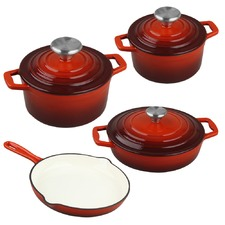 4 Piece Red Xanten Cast Iron Cookware Set