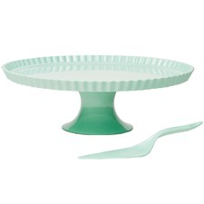 2 Piece Mint Deluxe Cake Stand & Cake Knife Set
