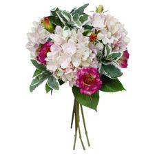 62cm Faux Pink & White Hydrangea Arrangement