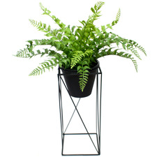50cm Potted Faux Ruffle Fern with Metal Stand
