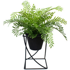 40cm Potted Faux Ruffle Fern with Metal Stand