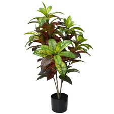 Potted Faux Croton Plant