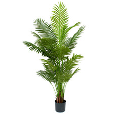 Bright Green Potted Faux Areca Palm Tree