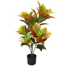 91cm Potted Faux Multi-Coloured Croton Plant