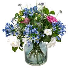 50cm Faux Mixed Camellia Arrangement with Glass Vase