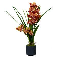 70cm Potted Faux Orange Cymbidium Orchid