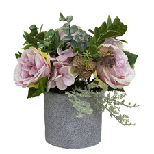 26cm Potted Pink Rose & Hydrangea