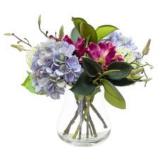 47cm Faux Magnolia & Hydrangea Arrangement with Glass Vase