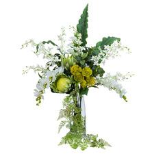 95cm Faux Dancing Lady Orchid Arrangement with Glass Vase