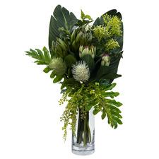 70cm Faux Protea Banksia Arrangement with Glass Vase