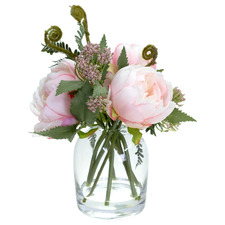25cm Potted Faux Small Pink Peony Arrangement in Glass Vase