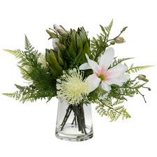 50cm Faux Magnolia & Protea Arrangement with Glass Vase