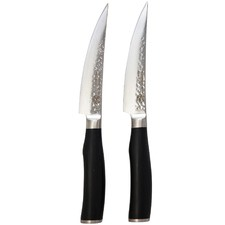 Classic Deluxe Bone Steak Knives with Black Handles (Set of 2)