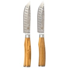 Classic Deluxe Jumbo Steak Knives with Olive Wood Handles (Set of 2)