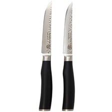 Classic Deluxe Tender Steak Knives with Black Handles (Set of 2)