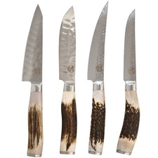 4 Piece Signature Sampler Steak Knives with Antler Wood Handle Set