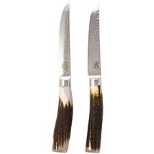 Signature Deluxe Tender Steak Knives with Antler Wood Handles (Set of 2)
