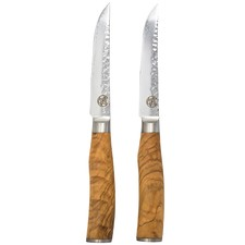 Signature Deluxe Tender Steak Knives with Olive Wood Handles (Set of 2)