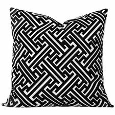 Black Geometric Maze Cushion