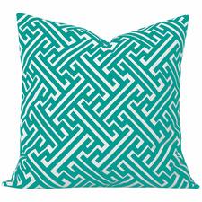 Turquoise Geometric Maze Cushion