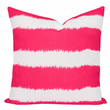 Pink Watermelon Stripe Ikat Bayou Cushion