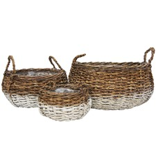 3 Piece Bikshu Lined Basket Set