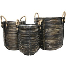 3 Piece Black Jazaa PE Rattan Basket Set
