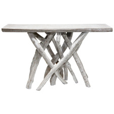 White Wash Liliana Teak Wood Console Table