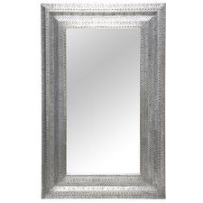 Silver Hazah Rectangular Metal Mirror